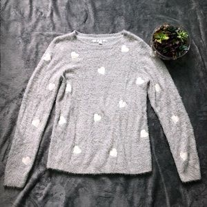 Lauren Conrad fuzzy soft heart sweater size L